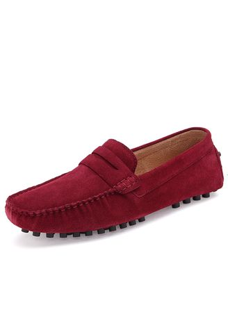 Red color Casual Shoes . Suede Peas Shoes Men's Casual Soft Bottom Set Foot England Lazy -
