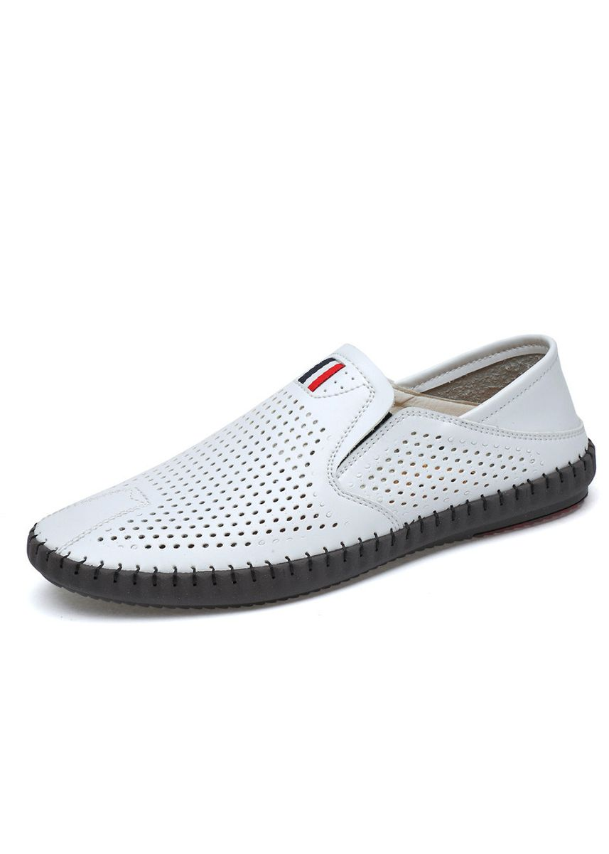 White color Casual Shoes . Men's Openwork Shoes Casual Breathable Peas Fashion Trend Handmade -