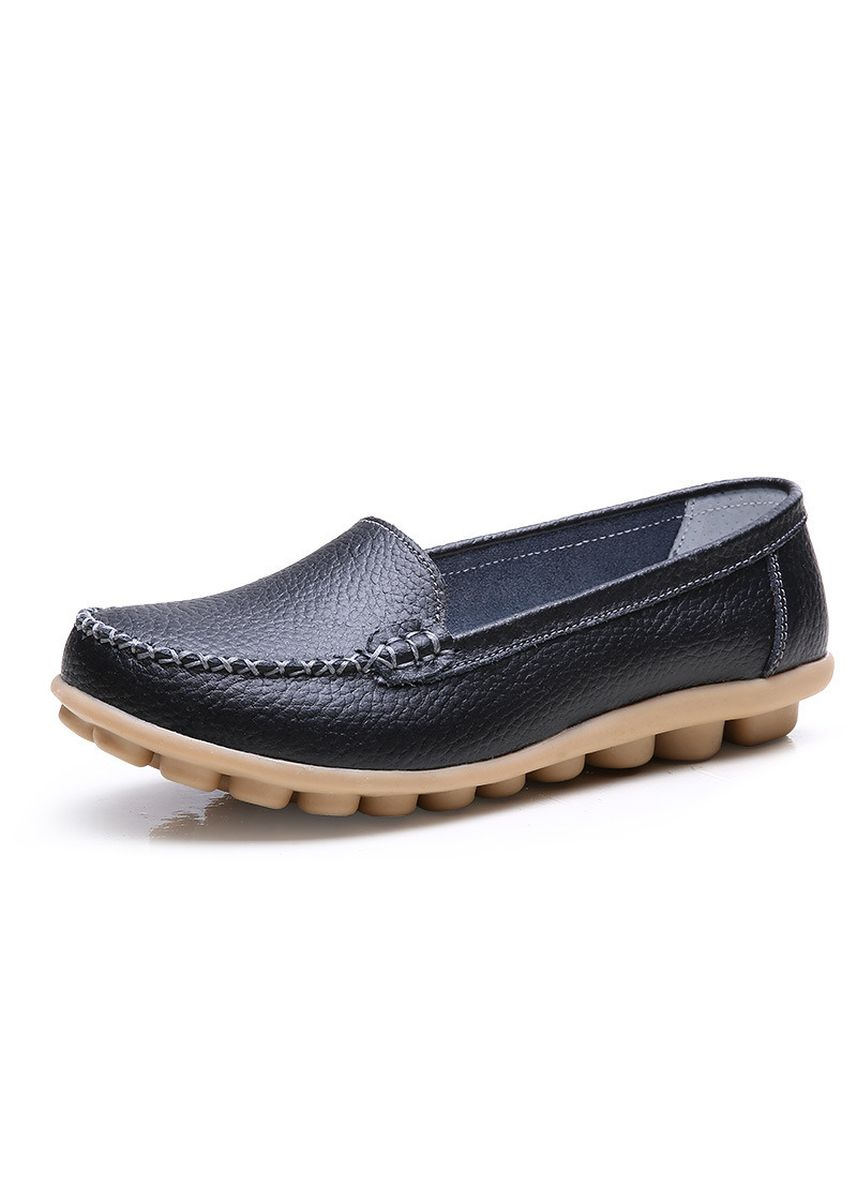 Black color Casual Shoes . Leather Women's Shoes Flat Peas Female Mother Pregnant Women Casual -