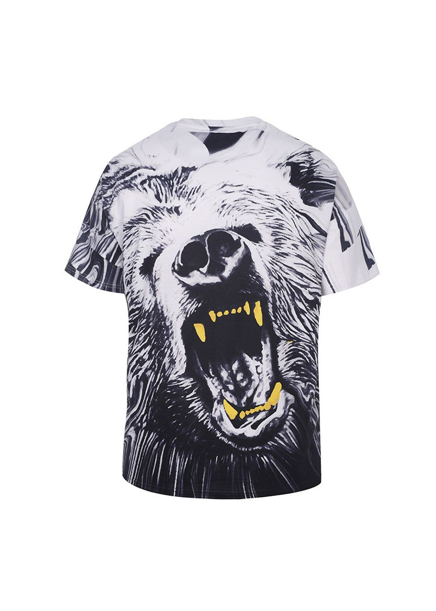 Black color T-Shirts and Polos . Personality Bear Short-sleeved T-shirt Loose -