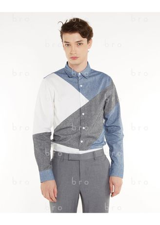 Cyan color Formal Shirts . BRO LIMITED COLLAGE SHIRT -