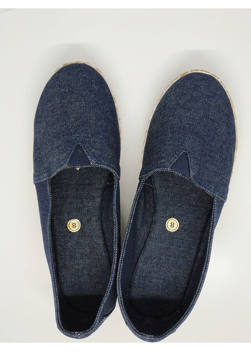 Navy color Sandals and Slippers . Flat Maria Denim Espadrilles -