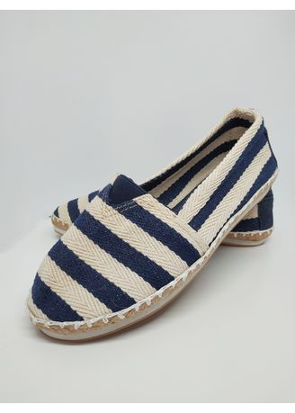 Navy color Sandals and Slippers . Flat Maria Nautical Espadrilles -