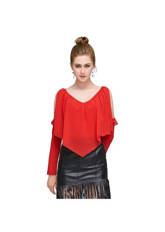 Red color Tops and Tunics . Long Sleeve Chiffon Shirt  -