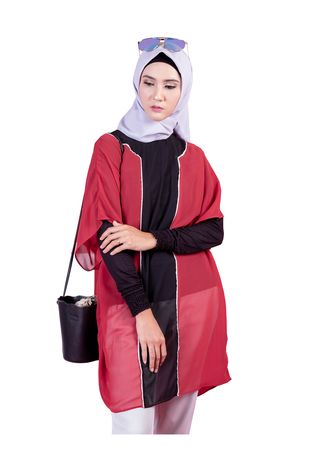 Merah color Outerwear . Vest 013 by Shasmira -