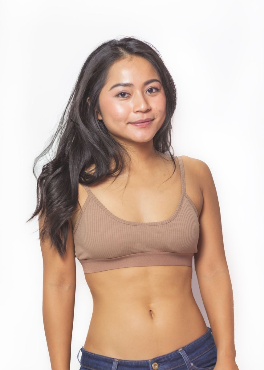 Brown color Bras . Jersey Bralette -