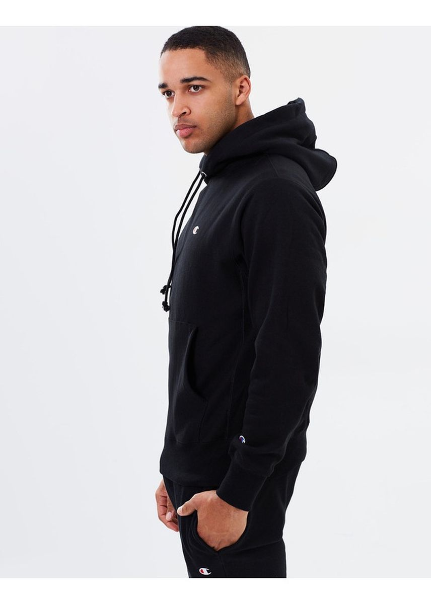 Black color Jackets . Champion Small Logo Reverse Weave Pullover Hoodie -