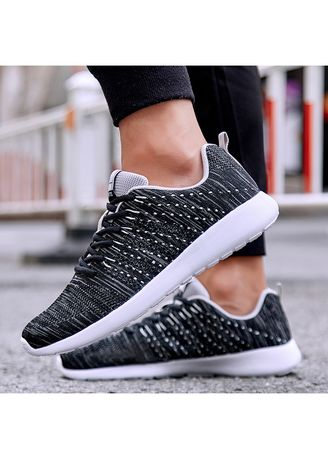 Black color Casual Shoes . Mens Knit Running Breathable Athletic  Shoes -