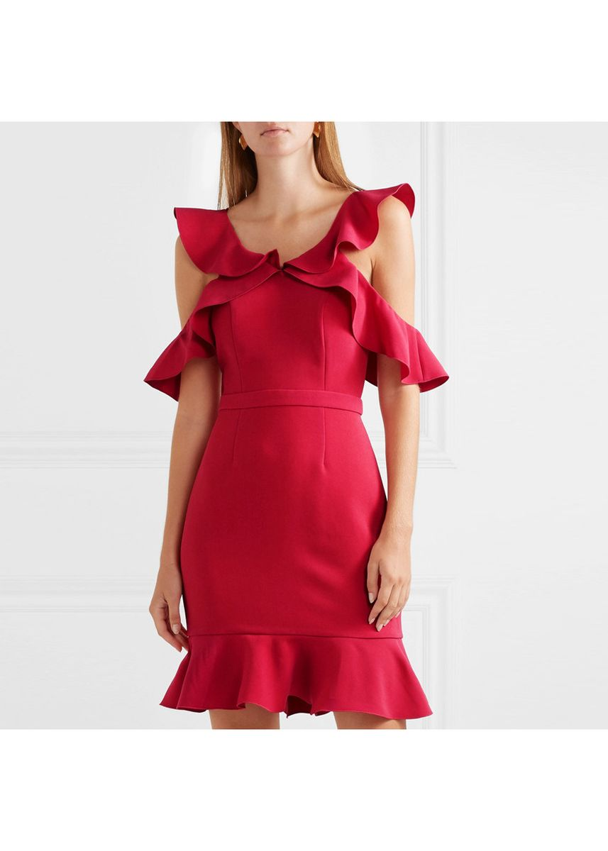 Red color Dresses . Women's Strapless Red Fishtail Dress -