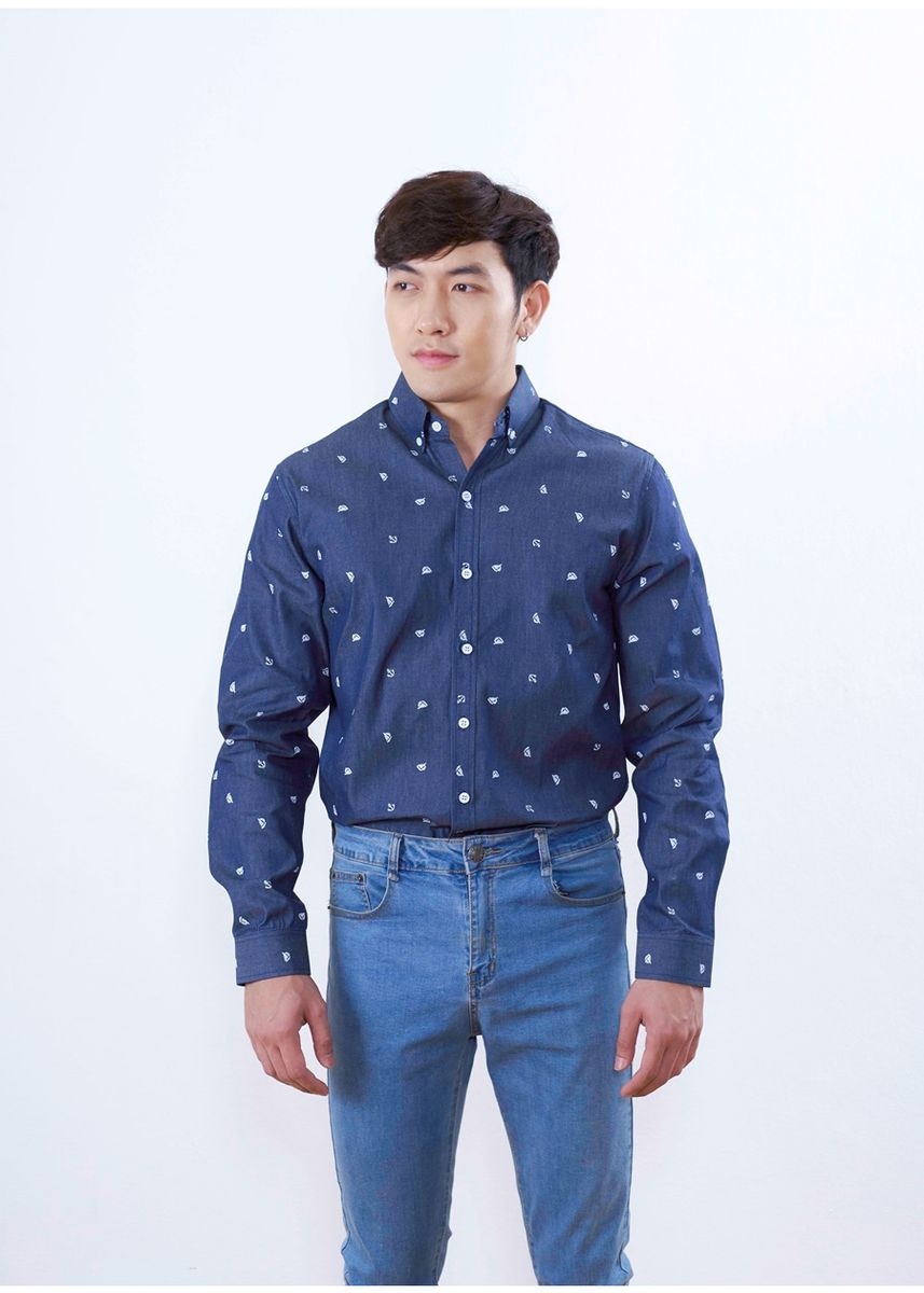 Navy color Formal Shirts . Quattro - Boat Screen -