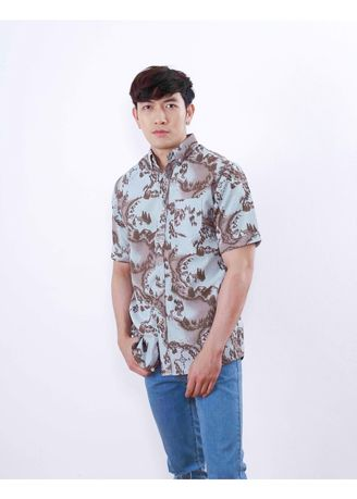 Grey color Formal Shirts . Quattro - Red Maps -