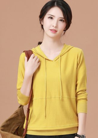 Yellow color Jackets . Woman Retro Pure-colour Hat Knitted Shirt -