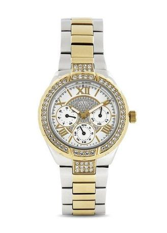 Silver color Chronographs . GUESS นาฬิกาผู้หญิง  Sparkling Hi-Energy Silver- And Gold-Tone Ladies Watch W0111L5 -