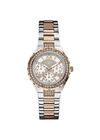 Silver color Chronographs . GUESS นาฬิกาผู้หญิง  Sparkling Hi-Energy Silver- And Rose Gold-Tone Ladies Watch W0111L4 -