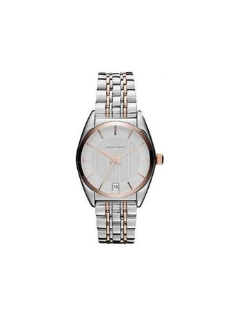 Silver color Analog . Emporio Armani นาฬิกาผู้หญิง Classic Two-Tone Stainless-Steel Quartz Watch with White Dial Ladies Watch AR1630 -
