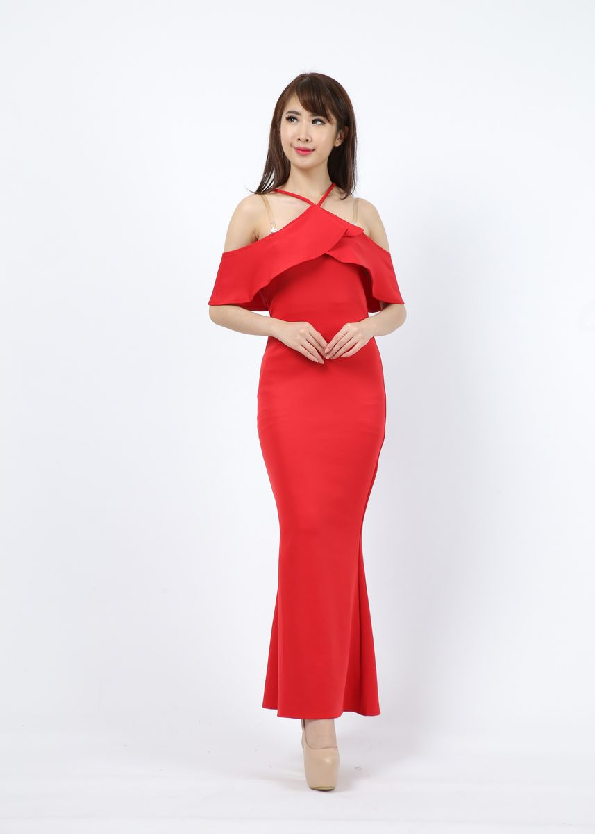 Merah color Terusan/Dress . Dress Britis -
