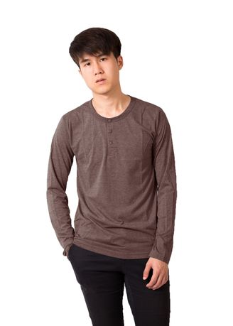 Brown color T-Shirts and Polos . WHATS UP BASIC HENLEY  LONG SLEEVE T-SHIRT NO.47 -