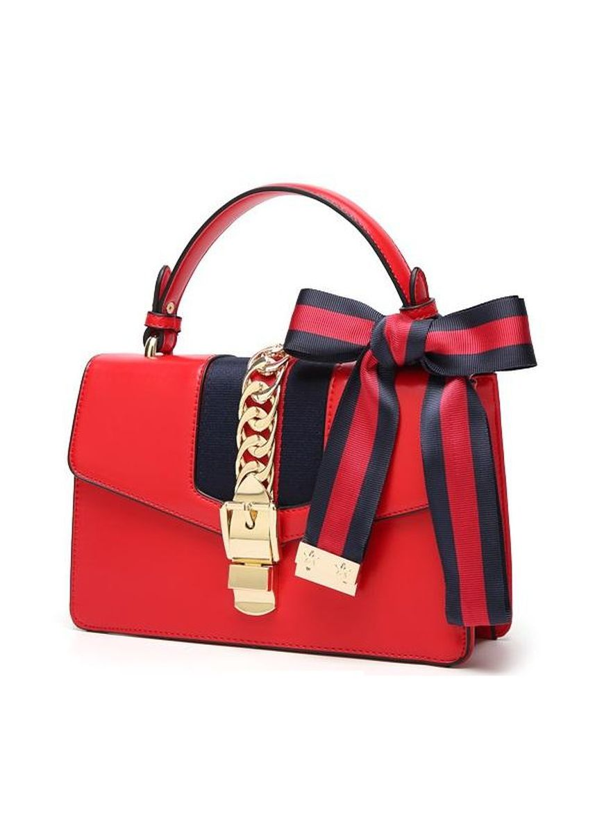 Red color Hand Bags . Leather Chain Buckle Bow Handbag - Red -