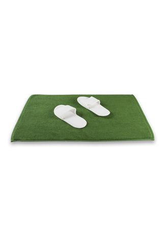 Green color Bathroom . Indolinen Bath Mat Keset Handuk Antiselip -