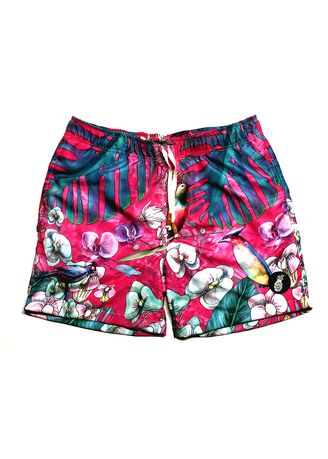 Pink color  . S107 Pinky Birds Board Shorts -