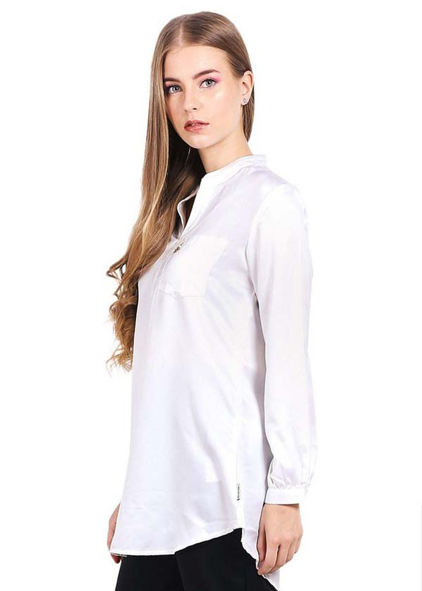 White color Tops and Tunics . Morphidae-Erica Two Women Blouse in White -