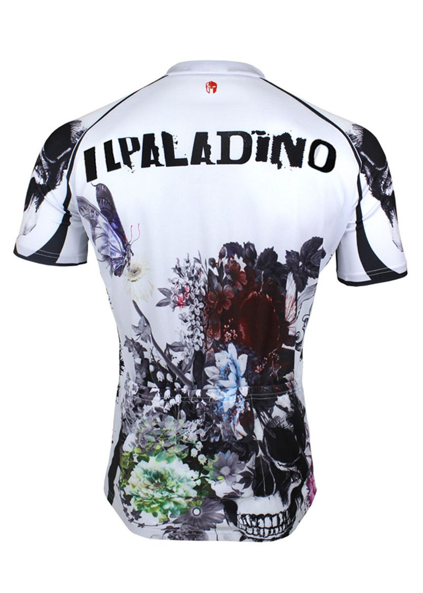 ขาว color ชุดกีฬา . Men's Cycling  Printed Skull Short Sleeve Biking Shirts Jersey -