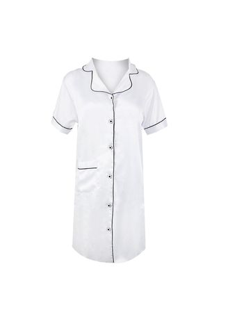 White color Pyjamas . Eight Piece - BASIC SATIN DASTER Seriess Piyama -