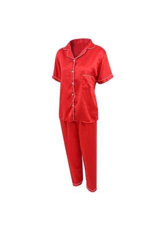 Red color Pyjamas . Eight Piece - Piyama Sleepwear CELANA PANJANG -