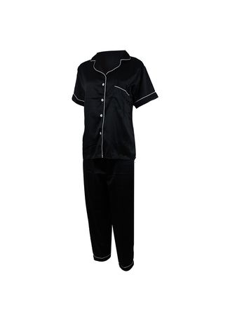 Black color Pyjamas . Eight Piece - Piyama Sleepwear CELANA PANJANG -