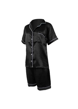 Black color Pyjamas . Eight Piece - Piyama Sleepwear Lengan Pendek -