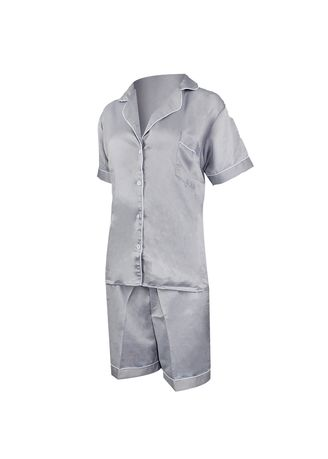 Light Grey color Pyjamas . Eight Piece - Piyama Sleepwear Lengan Pendek -
