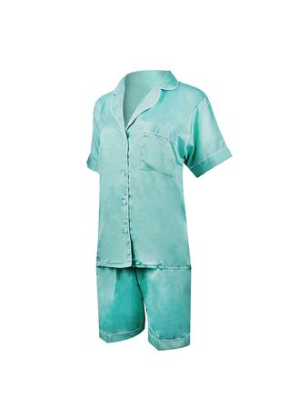 Green color Pyjamas . Eight Piece - Piyama Sleepwear Lengan Pendek -