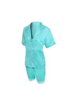 Cyan color Pyjamas . Eight Piece - Piyama Sleepwear Lengan Pendek -