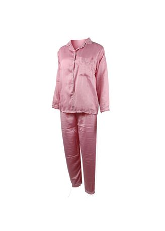 Pink color Pyjamas . Eight Piece - Piyama Lengan Panjang -