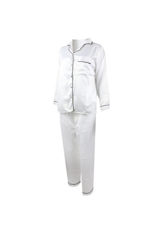 White color Pyjamas . Eight Piece - Piyama Lengan Panjang -