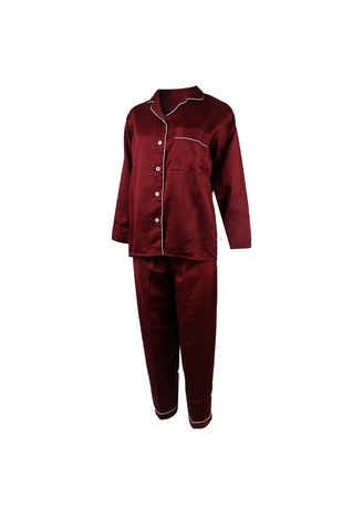 Maroon color Pyjamas . Eight Piece - Piyama Lengan Panjang -