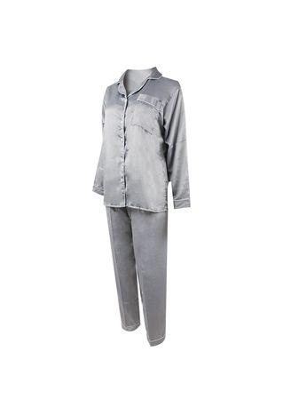 Grey color Pyjamas . Eight Piece - Piyama Lengan Panjang -