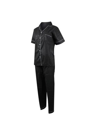 Black color Pyjamas . Eight Piece - ONDE POLKADOT Piyama Celana Panjang -