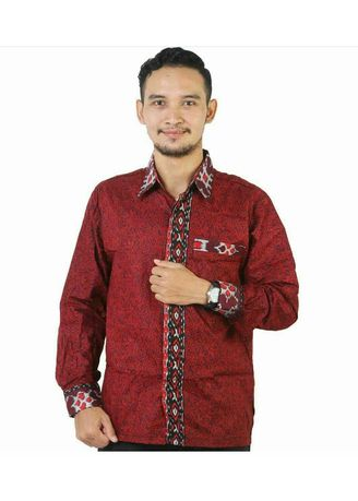 Red color Formal Shirts . Kemeja batik merah -