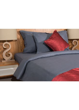 Grey color Bedroom . IndoLinen Set Sprei Warna Polos - Single -