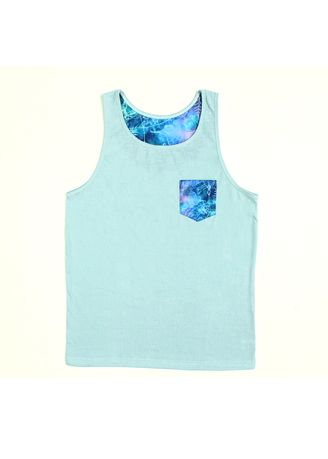 Light Blue color  . S107 Blue Pinkies with Printed Pocket Top Tank -