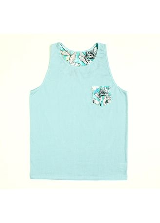 Light Blue color  . S107 Blue Floral with Printed Pocket Top Tank -