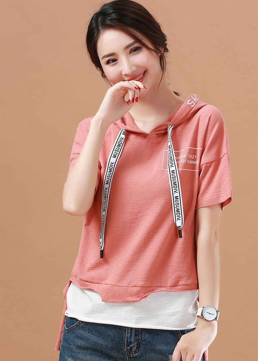 Pink color Tops and Tunics . Retro Hoodied Sweet Color T-shirt -