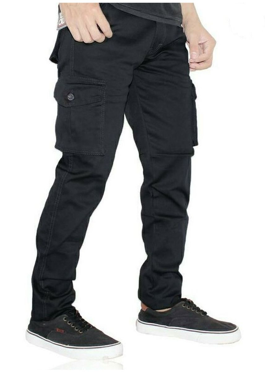 Black color Casual Trousers and Chinos . Celana CARGO Pria /PDL/ Celana Panjang Pria Bestseller Black -