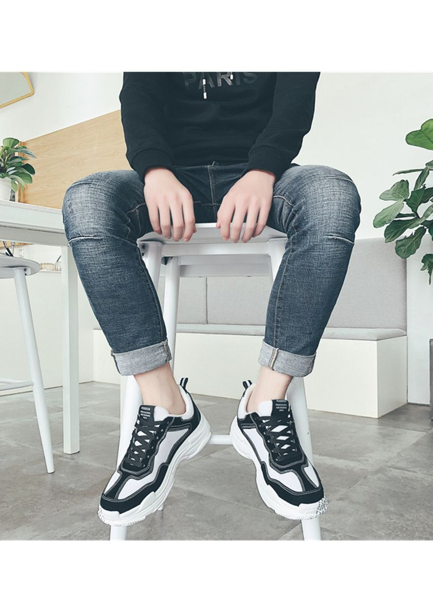 Black color Casual Shoes . Men's Black And White Classic Fashion Outdoor Casual Shoes -