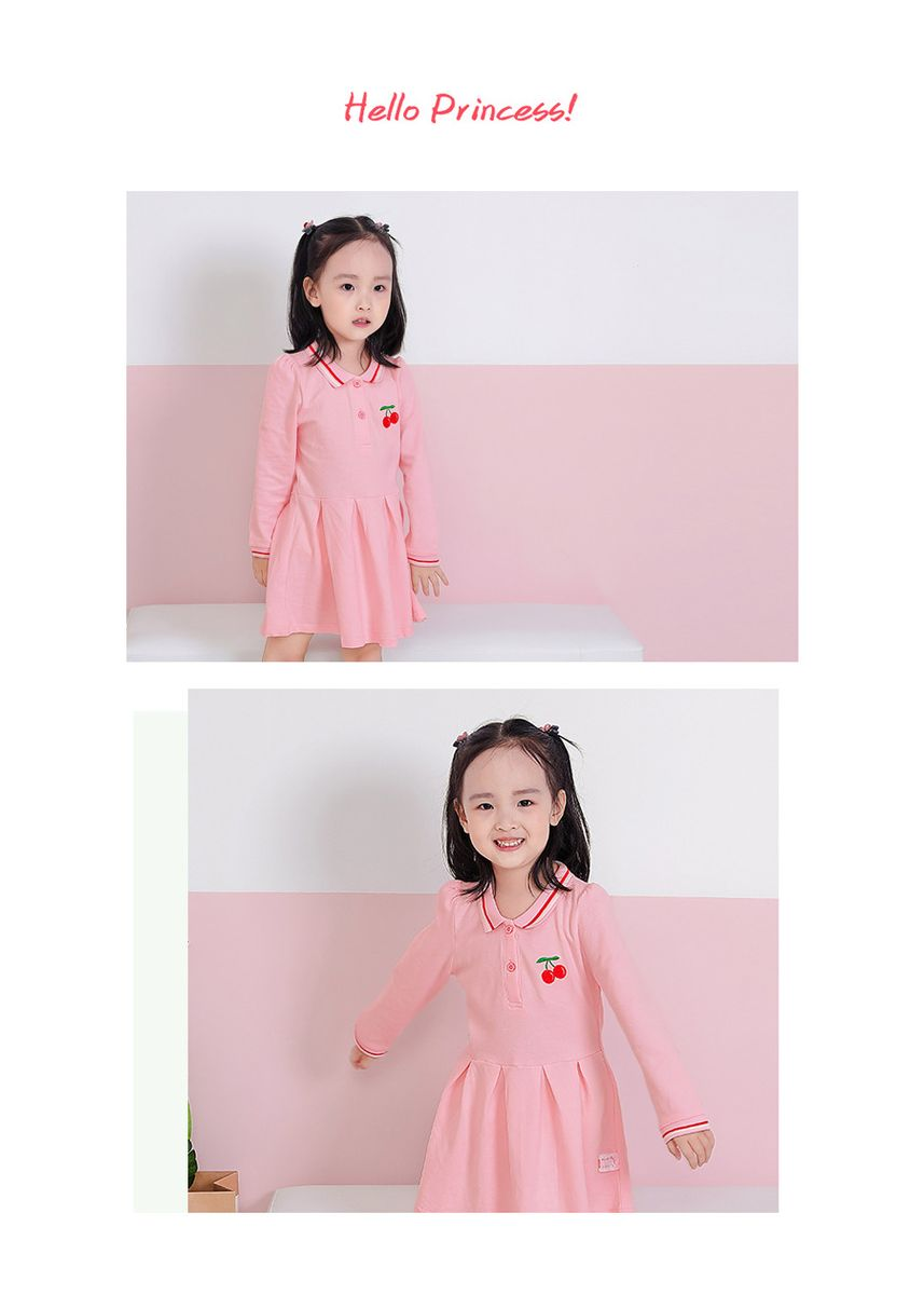 ชมพู color เดรส . Kids Girls Long-Sleeve Dress Polo Dress -