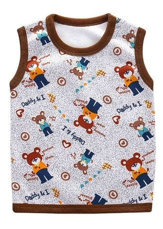 Brown color Tops . Bear Print Kids T-Shirt -