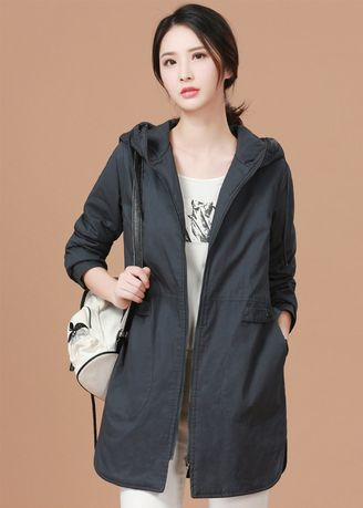 Grey color Jackets . Winter Thickened Casual Hoodied Cotton Jacket -