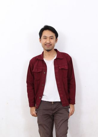 Maroon color Outerwear . Jaket pria Jeans Denim Casual Pria -