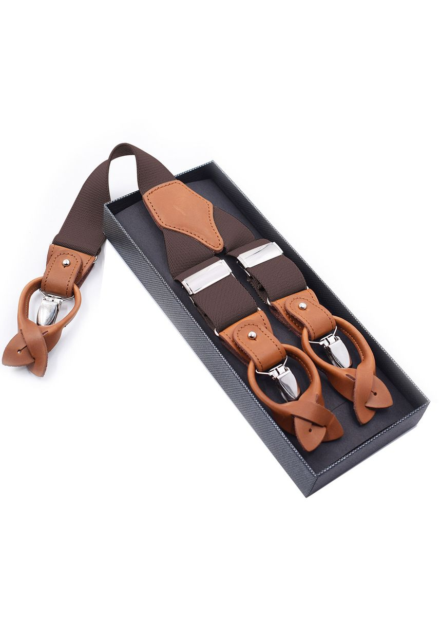 น้ำตาล color สายเอี๊ยม . Men Style Fashion Leather 3 Clips & 6 Buttons Braces Suspender  -